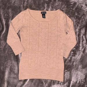 Tan 3/4 Sleeve Sweater Top Size Small